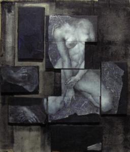 'Tessere'2014- olio e acrilico su tele poste sopra un drappo di lana non intelaiato- cm. 100x100 circa